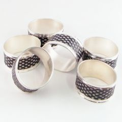 Grehom Oval Napkin Rings - Black & Silver (Set of 3)