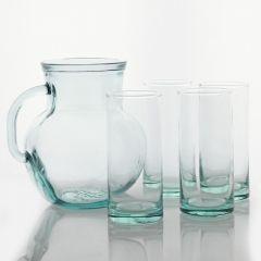 Grehom Recycled Glass Tumblers & Jug Set - Versatile; 5 Piece Saver Set